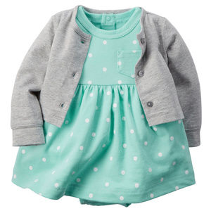 Baby Girl Cardigan & French Terry Mint Dress Set